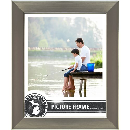 Craig Frames 26966 8 by 10-Inch Picture Frame, Smooth Wrap Finish, 1.26-Inch Wide, Silver Stainless