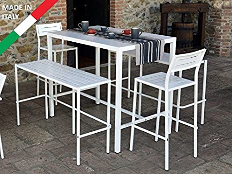 Set tavolo alto bar 120x80 con 2 panche e 2 sgabelli metallo bianco