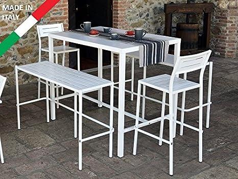 Tavolo Alto Da Pub : Set tavolo alto bar 120x80 con 2 panche e 2 sgabelli metallo