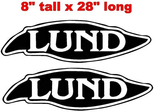 CELYCASY Pair of 8x28 Lund Boat Hull Vinyl Decals Marine Grade and Your Choice of Color.