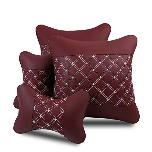 Meiyiu Car Headrest and Waist Pillow Set Breathable Soft Comfortable Red 4Pcs