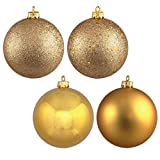 Vickerman 488508 - 12'' Gold 4 Assorted Finish Ball Christmas Tree Ornament (Set of 4) (N593068DA)