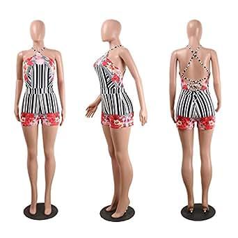 FJ-Direct Floral Print Shorts Women Boho Criss Cross Back Backless Sexy Summer Playsuit Romper Black S