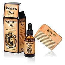 Beard Oil with Beard Comb by Inglorious Fuzz - Vintage Beard Hair & Skin Conditioner - Fragrance Free - Vegan - Better Beards for Better Men