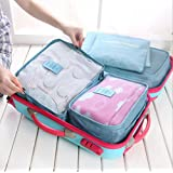 6pc Waterproof Travel Luggage Organizer Storage bag Durable Packing Compression Pouches 3 Travel Cubes + 3 Pouches (Sky Blue)