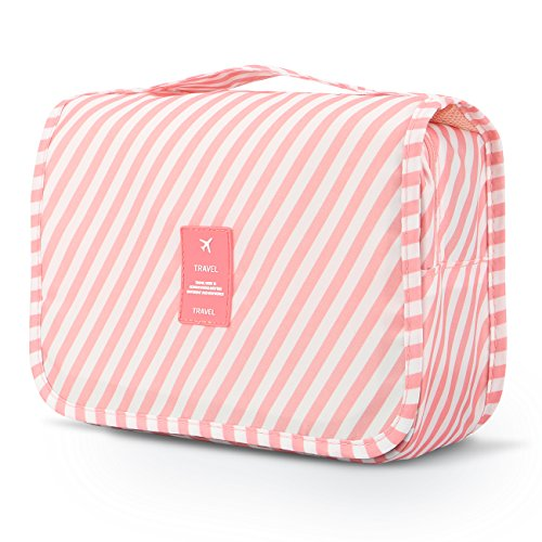 Toiletry Kit,Mossio Compact Business Handbag Personal Organizer Christmas Gift Pink Striped ()