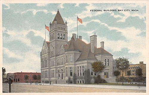 Bay City Michigan Federal Building Street View Antique Postcard K35921