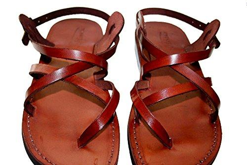 Brown Triple Unisex Leather Sandals / Genuine Handmade Leather Holy Land Biblical Jesus Sandals (EURO  39)