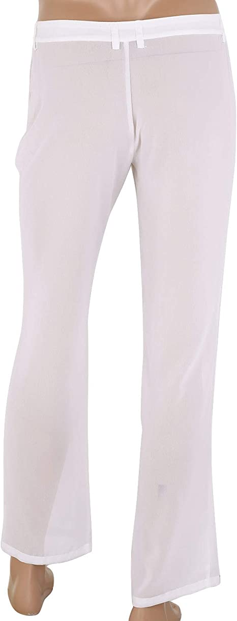 Tiaobug Pantalones Casual Hombre Pantalon Recta Transparente Suelta De Gasa Cintura Elastica Leggings Largos Deportivo Ropa Playa Hombre Ropa Activa