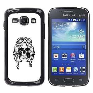 MobileHut / Samsung Galaxy Ace 3 GT-S7270 GT-S7275 GT-S7272 / Pilot Death War White Black Skull / Delgado Negro Plástico caso cubierta Shell Armor Funda Case Cover