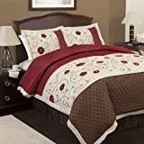 Lush Decor Royal Embrace 4-Piece Comforter Set, Queen, Red