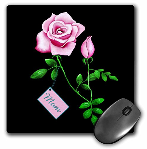 3dRose LLC 8 x 8 x 0.25 Inches Pretty Pink Rose with Rosebud Design for Mothers Day on a Dramatic Black Background Mouse Pad (mp_11661_1)