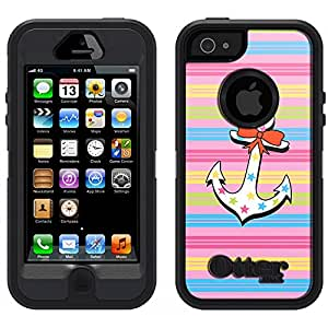 Skin Decal for Otterbox Defender iPhone 5 Case - Anchor on Pastel Lines