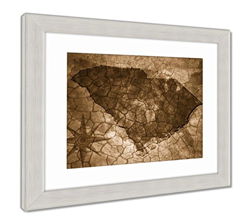 (Ashley Framed Prints Vintage South Carolina State Map, Wall Art Home Decoration, Sepia, 34x40 (frame size), Silver Frame, AG6141676)