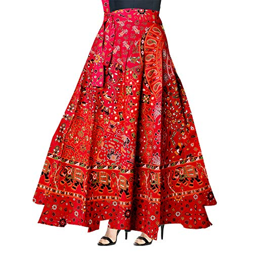 Silver Organisation Indian Women Ethnic Floral Print Cotton Long Skirt Hippie Gypsy Big Flare Skirt
