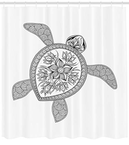 (Ambesonne Turtle Shower Curtain, Artistic Turtle Figure Henna Mehndi Tattoo Style Doodles Floral Ornaments Asian, Fabric Bathroom Decor Set with Hooks, 84 inches Extra Long, White and Black)
