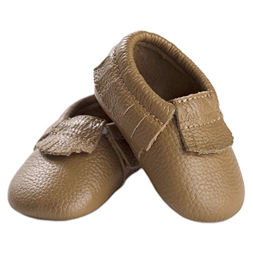 Itzy Ritzy Moc Happens - K Leather Baby Moccasin, Toasted Almond, 12-18 Months M US Infant