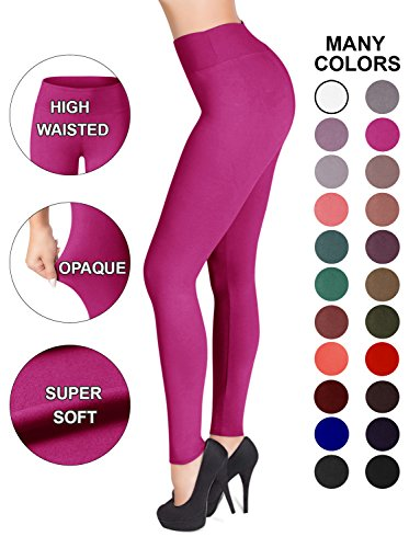 SATINA High Waisted Leggings - 22 Colors - Super Soft Full Length Opaque Slim (Plus Size, Fuchsia)]()