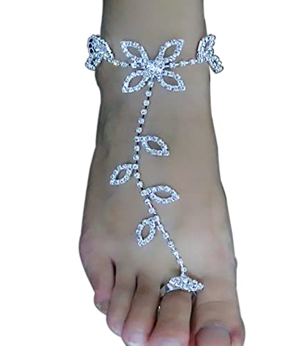 ce218fa6899c32 Image Unavailable. Image not available for. Color  Skyvan One Piece Bride  Ankle Bracelet Crochet Women Sandals Beach Foot Jewelry Anklet Rhinestone  Barefoot