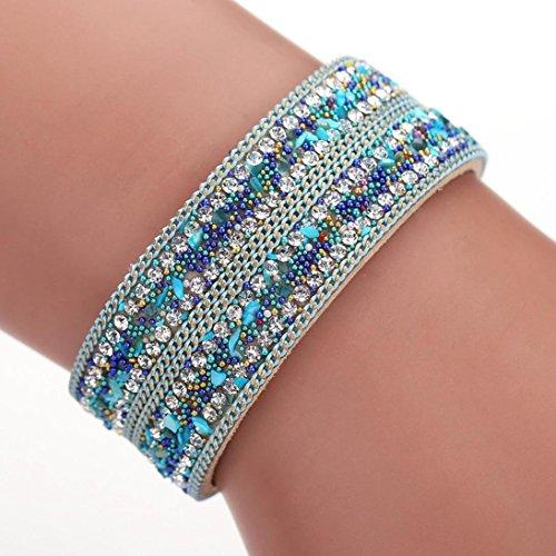 Welcomeuni Women Bohemian Crystal Cowhide Bracelets Wrist Chains Gift (Light Blue)