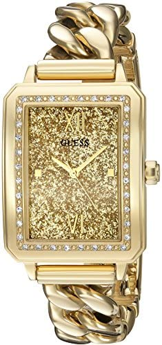 GUESS Women s U0896L2 Trendy Gold-Tone Watch with Gold Dial , Crystal-Accented Bezel and Stainless Steel G-Link Band