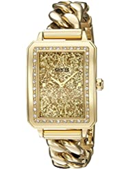 GUESS Womens U0896L2 Trendy Gold-Tone Watch with Gold Dial , Crystal-Accented Bezel and Stainless Steel G-Link...