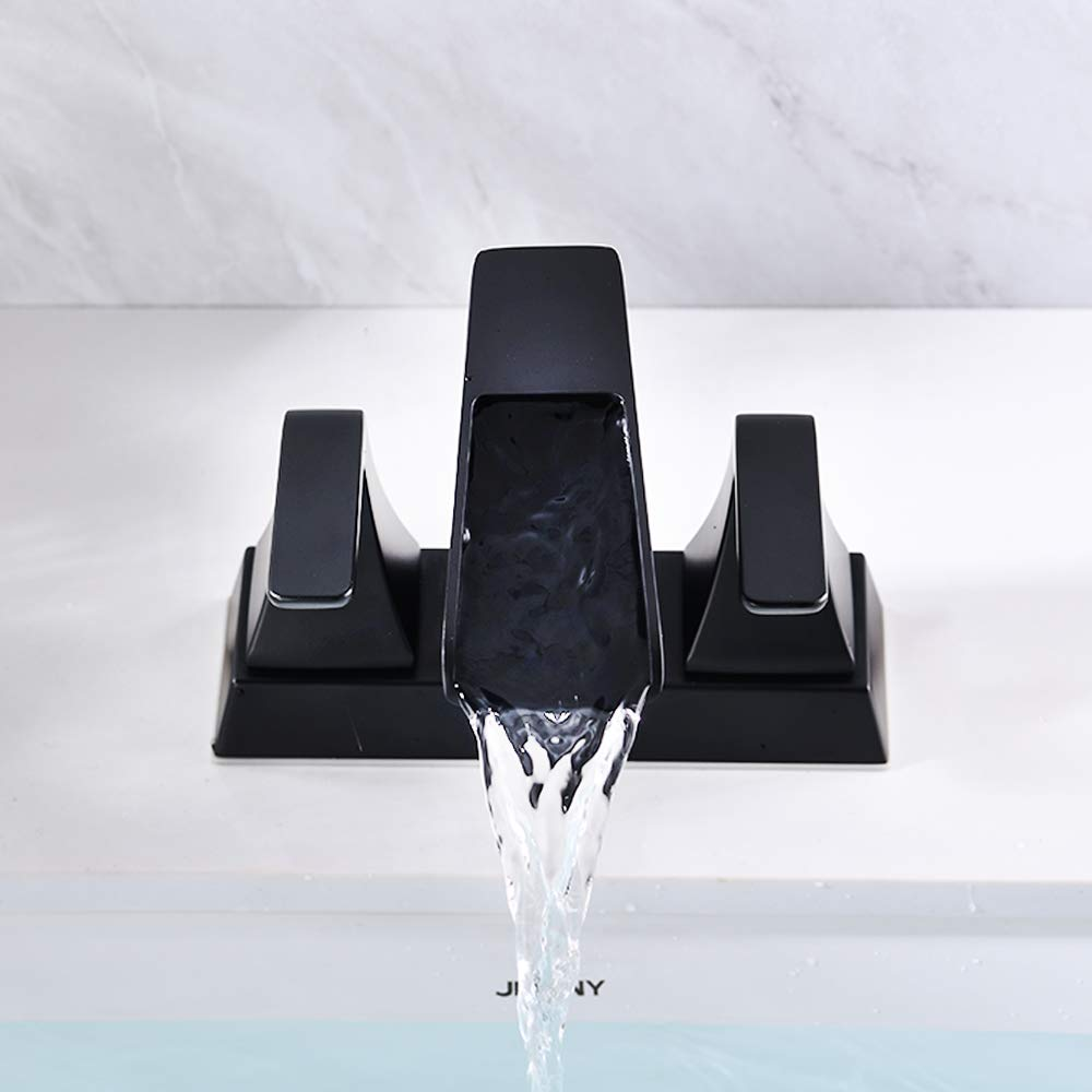 NEWATER Double Handle Waterfall Centerset Three Hole Bathroom Sink Faucet with Pop Up Drain /& Supply Lines Lavatory Faucet Mixer Tap Deck Mounted,Matte Black