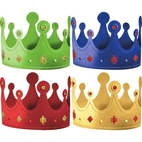 Fun Rainbow Birthday Party Crowns , Pack of 12, Multi , 1/4