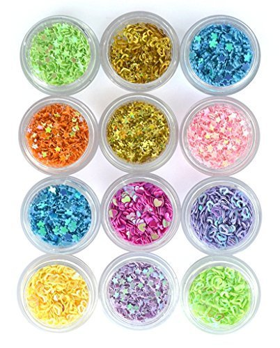 ReNext DIY 12 Colors Hollow Solid Heart Star Flower Glitter Sheet Spangle Nail Tip Deco -
