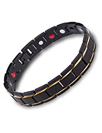 Murtoo Titanium Magnetic Therapy Bracelet 18K Gold Black with Free Link Removal Tool