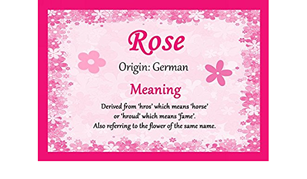 Amazon Com Rose Personalized Name Meaning Certificate Office Products