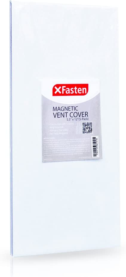 XFasten Magnetic Register Vent Cover for Ceiling, Sidewall and Floor Vents - 5.5-inch x 12-inch (5-Pack) – Strong RV Air Vent Magnetic Cover for RV and Home Air-Conditioning HVAC System