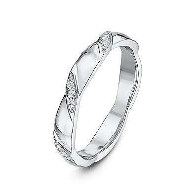 Theia 9ct White Gold 006ct Diamond Set 3mm Twist Wedding Ring