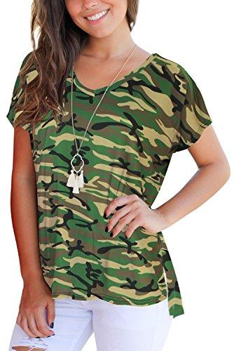 irregolare per manica Tomaia T camo scollo Magliette shirt a decorazione corta V donna Dasbayla 1 Uvqqx5nAP