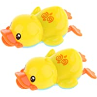 Baosity 2pcs Baby Bathing Play Fun Wind Up Yellow Duck Bathtub Kids Water Pool Toy