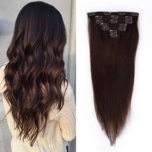 18 inches Clip in Extensions Real Human Hair - 70g 7pcs 16 Clips Straight 100% Remy Human Hair Extensions for Women Dark Brown #2 Color -