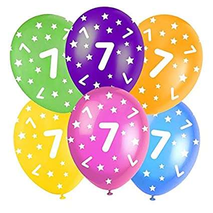 Multi-Coloured Happy Birthday Assorted 12' Latex Balloons - 5 In Each Pack - Balloons feature Stars - All ages - Colours: Orange, Yellow, Green, Blue and Burgundy. (6th Birthday Balloons) Good Deals Online