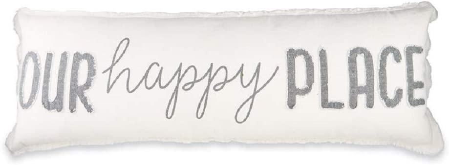 Mud Pie Our Happy Long Pillow, White