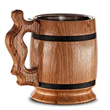 Large Wooden Beer Mug - Oak - Handmade With Amazing Craftsmanship and Quality Materials - Lined With Metal - Heavy Duty - Sturdy - Long Lasting