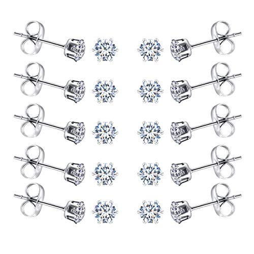 FOSIR 2-4MM Tiny Womens Stainless Steel Round Clear Cubic Zirconia Stud Earrings(6-10 Pairs)