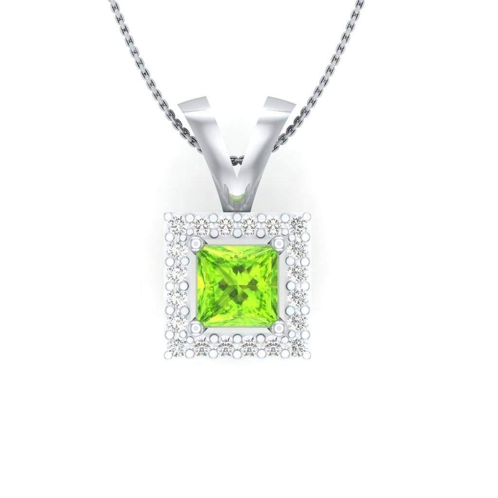 Hanssini Jewels 1.75 CT Princess Cut Peridot CZ 14k White Gold Plated Halo Pendant Necklace 18 Chain