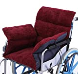 Best Wheelchair Cushion With Fleeces - Sherpa Fleece Wheelchair Cushion Soft Chair Cushion-Burgundy Review