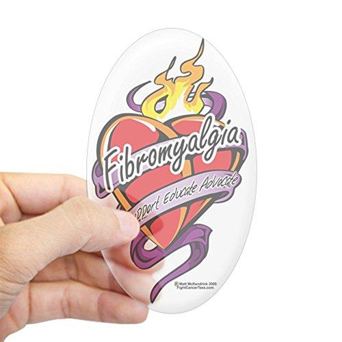 CafePress Fibromyalgia-Tattoo-Heart Oval Bumper Sticker, Euro Oval Car Decal