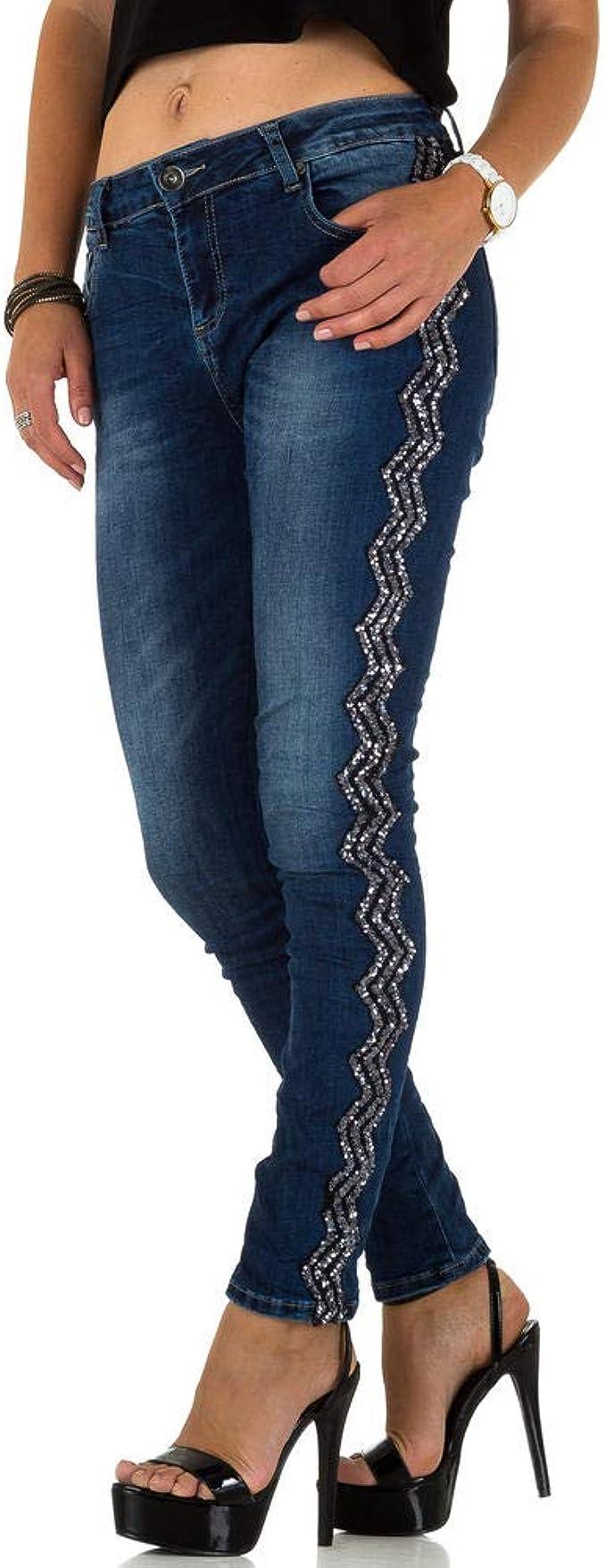 Koucla Jeanshose Damen Skinny Jeans mit Pailletten
