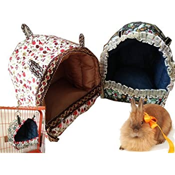 Mkono Hamster Guinea Pig Bed Small Animal Cage Supplies Hammock House Hideout for Rat Hedgehog Ferret Chinchilla, M