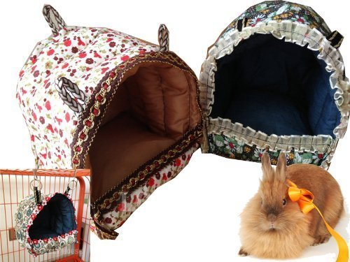 Mkono Guinea Pig Bunny Bed Small Animal Cage Supplies Hammock House Hideout for Dwarf Rabbit Ferret Squirrels Parrots, L