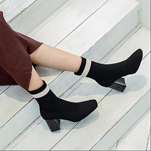 KHSKX-Negro 7Cm Invierno Versión Coreana Del Nuevo Tejido Elástico Botas Calcetines Una Plaza Con Audaz Gráfica Delgada Botas Botas Stretch Mujer 35 36