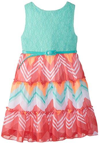 Rare Editions Little Girls' Mint Bodice To Chevron Print Dress, Mint/Multi, 6X