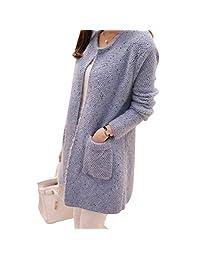 OCHENTA Women's Loose Pocket O-neck Sweater Cardigan Knit Top