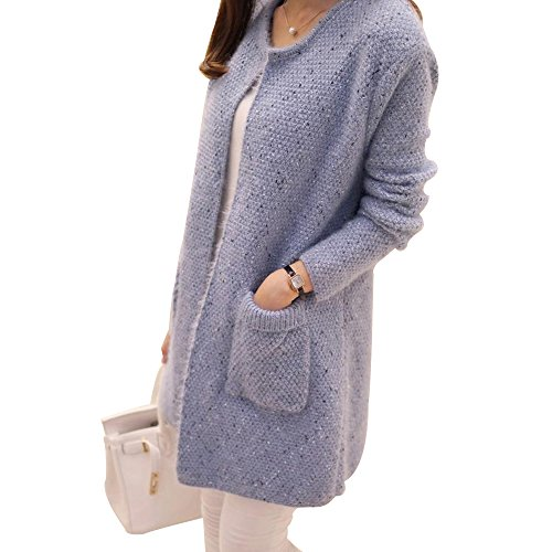 OCHENTA Pull Casual Sans Automne Poches Manches Veste Bleu Longues Bouton Tricot Cardigan Femme rFAwr